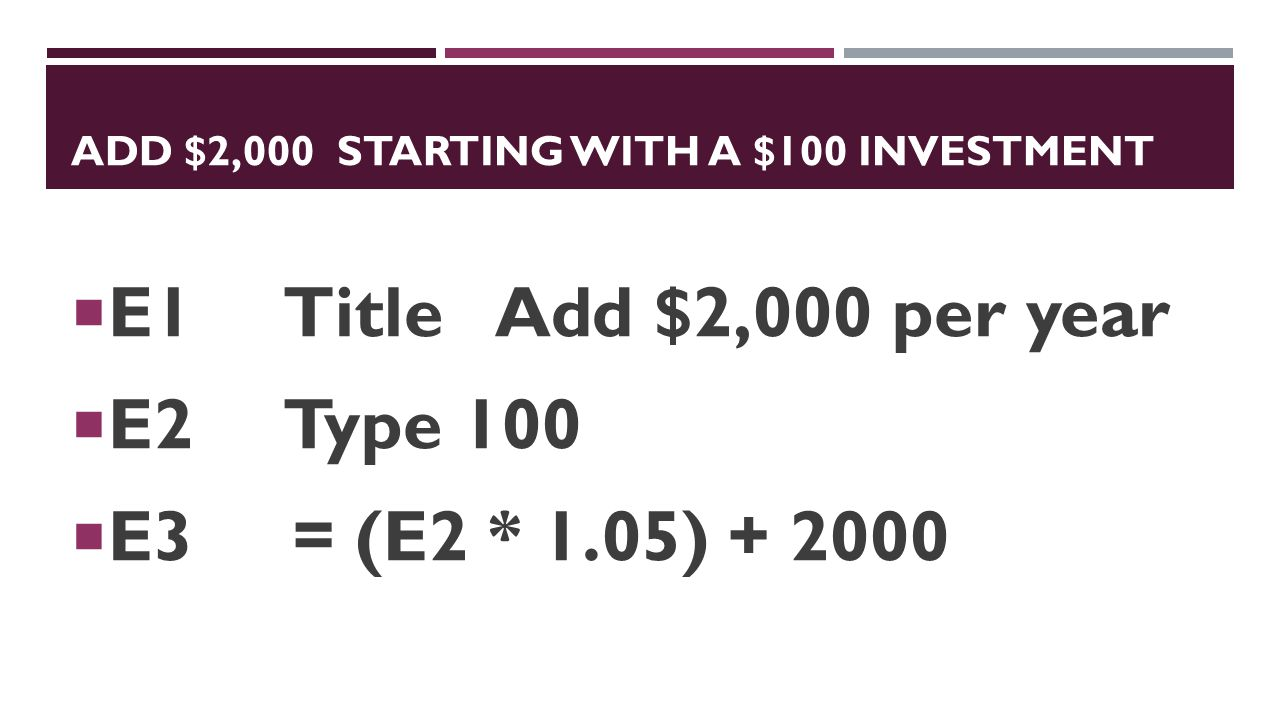 Add $2,000 starting with a $100 investment