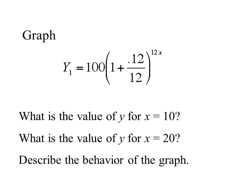 Graph What is the value of y for x = 10