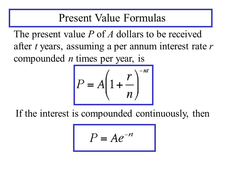 Present Value Formulas