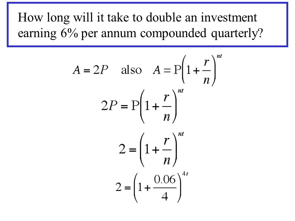 How long will it take to double an investment earning 6% per annum compounded quarterly