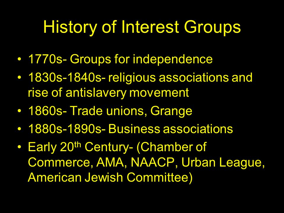 an essay on the history of interest groups in america Chapter 9 interest groups—the  in the essay he lumps parties and interest groups together as  of american history has heard of scandals .