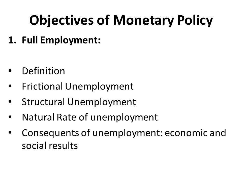 Objectives of Monetary Policy