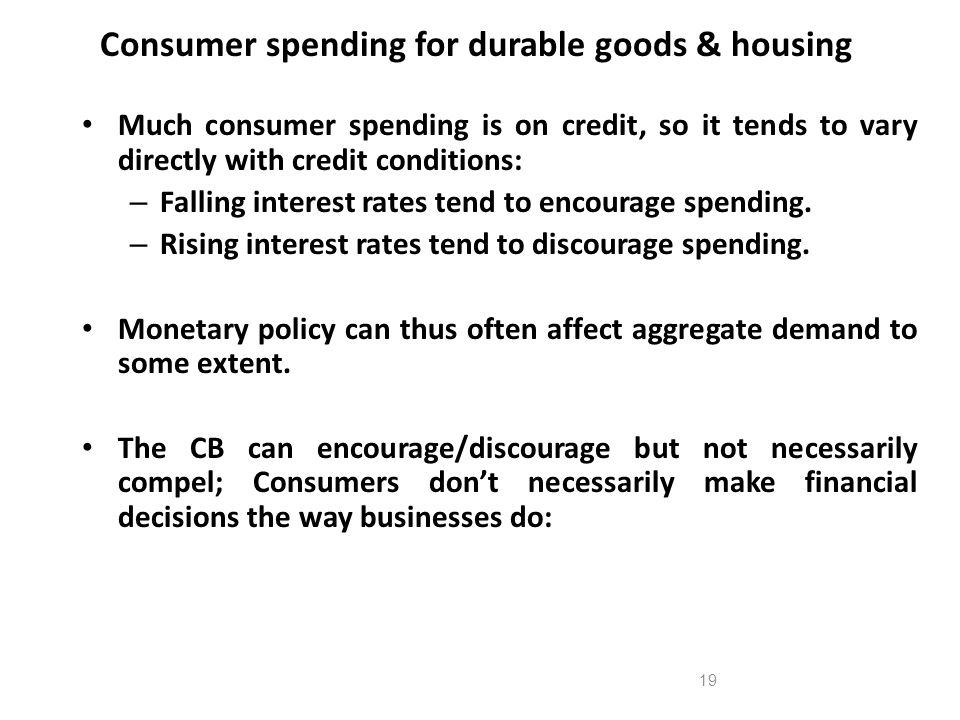 Consumer spending for durable goods & housing