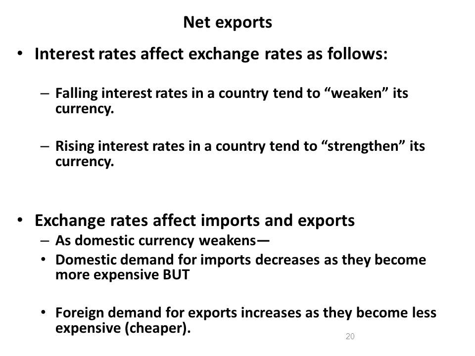 Interest rates affect exchange rates as follows: