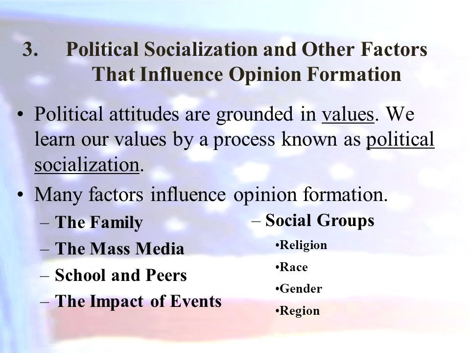 Many factors influence opinion formation.