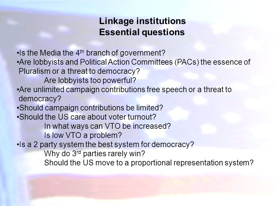 Linkage institutions Essential questions