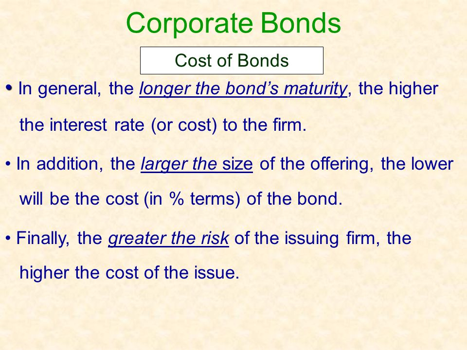 Corporate Bonds Cost of Bonds. In general, the longer the bond's maturity, the higher the interest rate (or cost) to the firm.