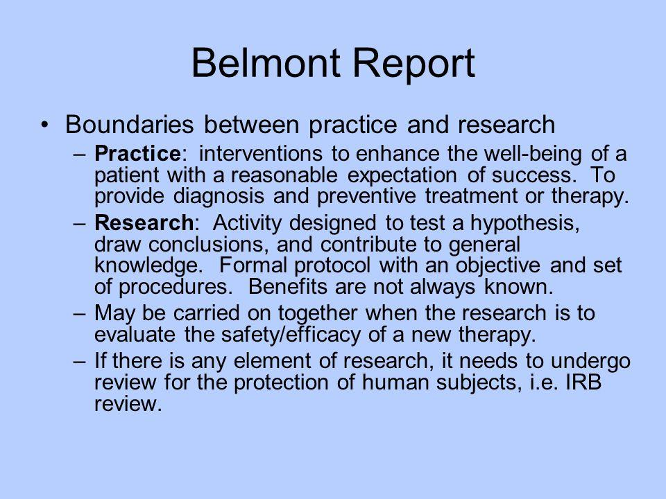 Belmont Report Boundaries between practice and research