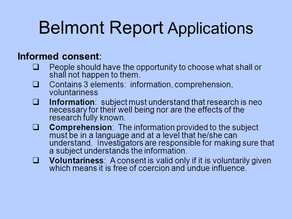 Belmont Report Applications