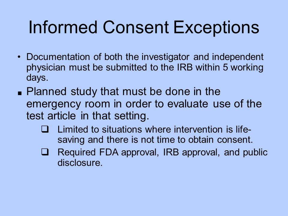 Informed Consent Exceptions