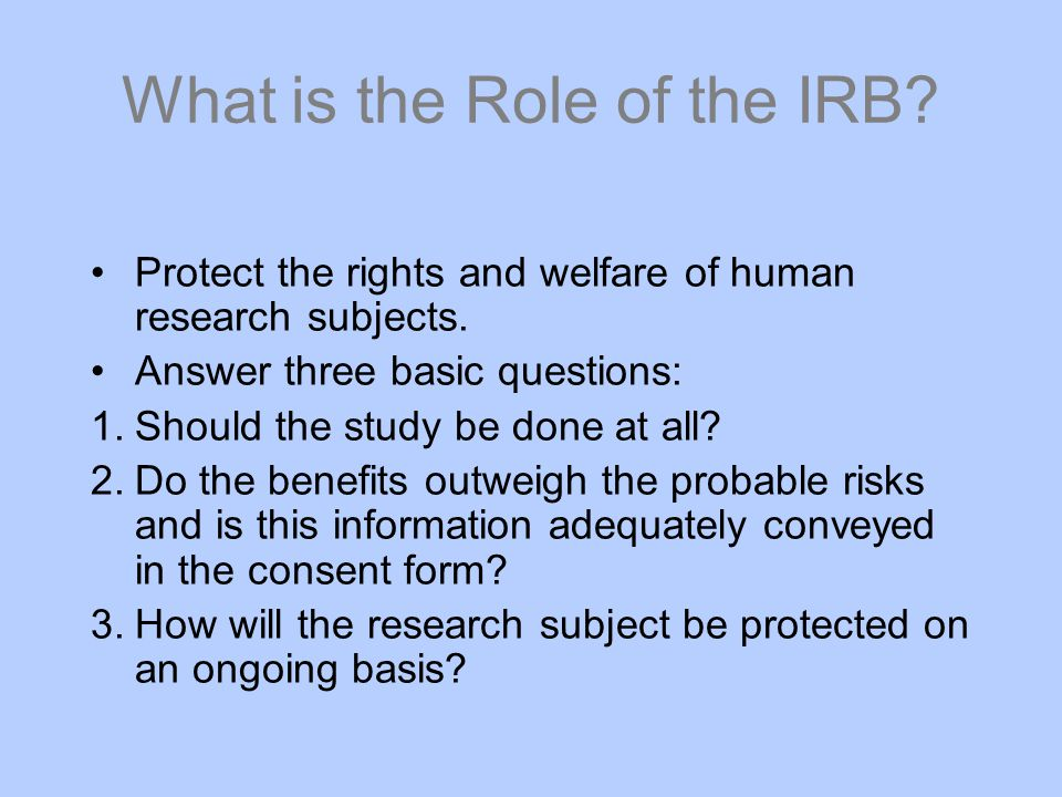 What is the Role of the IRB