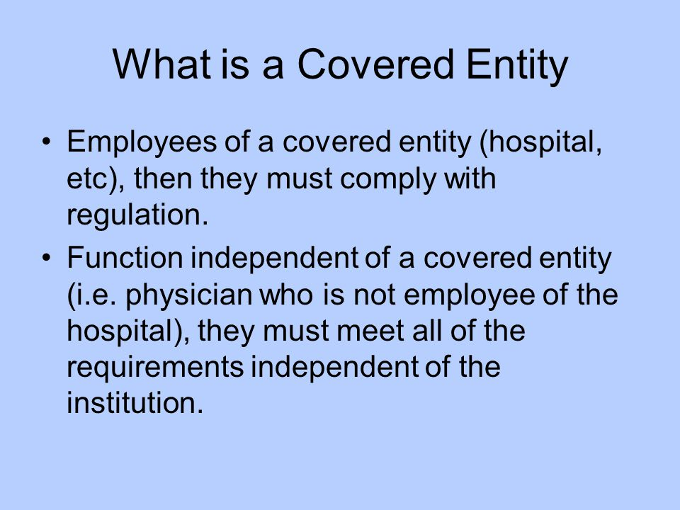 What is a Covered Entity