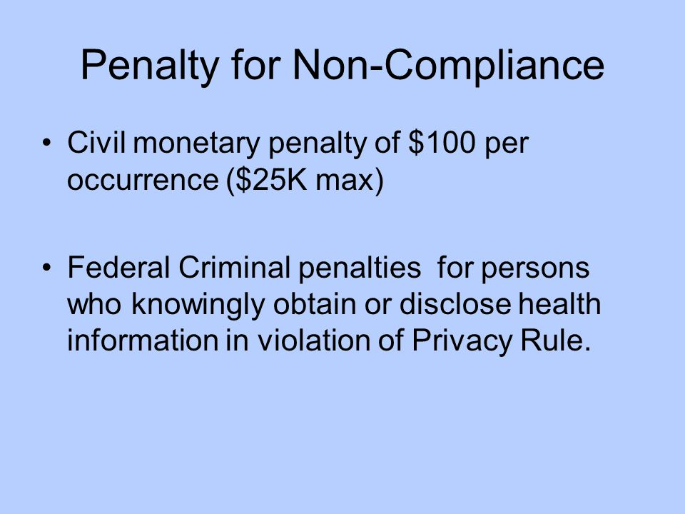 Penalty for Non-Compliance