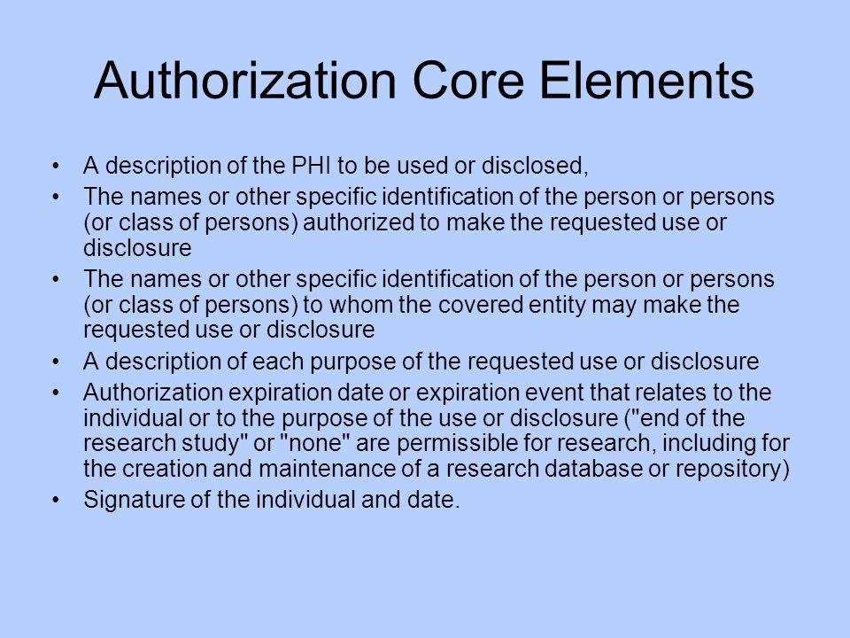 Authorization Core Elements