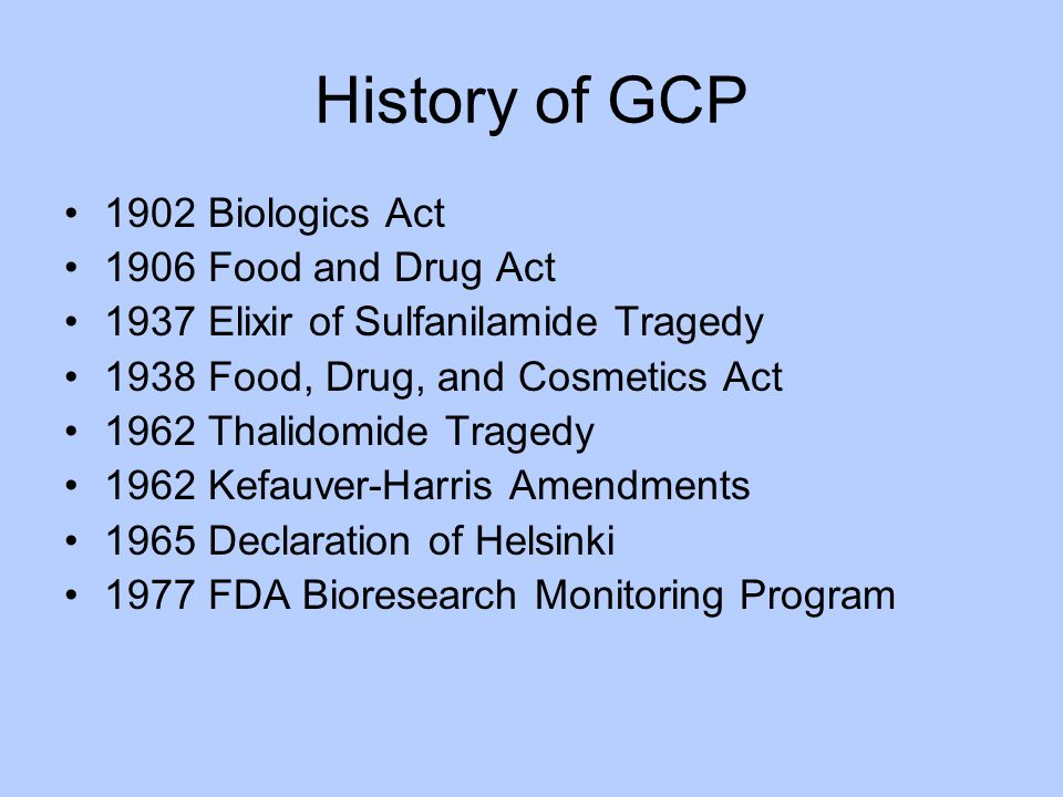 History of GCP 1902 Biologics Act 1906 Food and Drug Act
