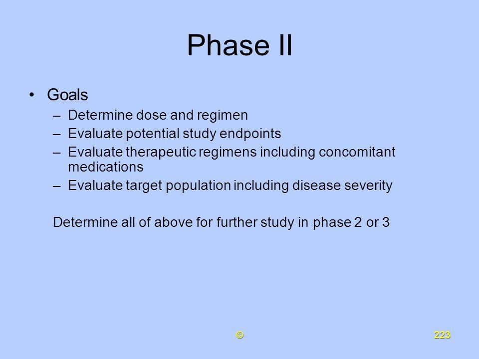 Phase II Goals Determine dose and regimen
