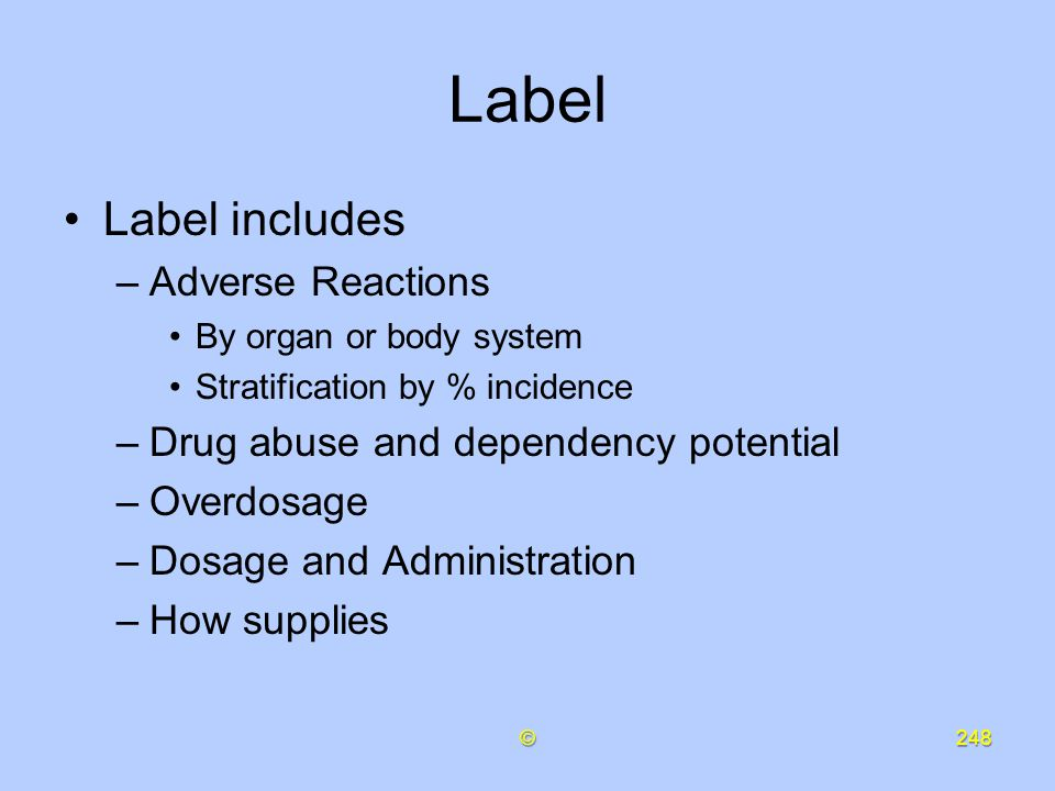 Label Label includes Adverse Reactions