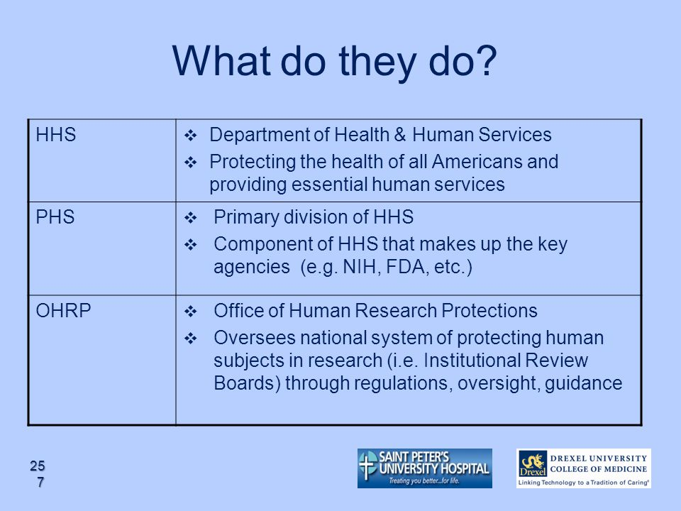 What do they do HHS Department of Health & Human Services