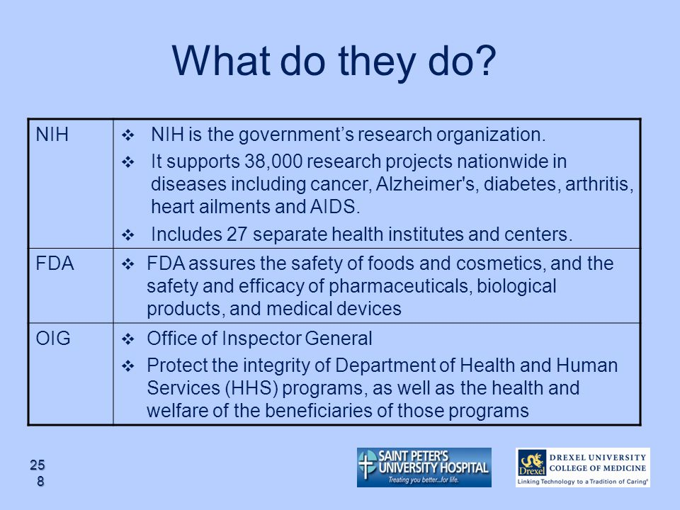 What do they do NIH NIH is the government's research organization.