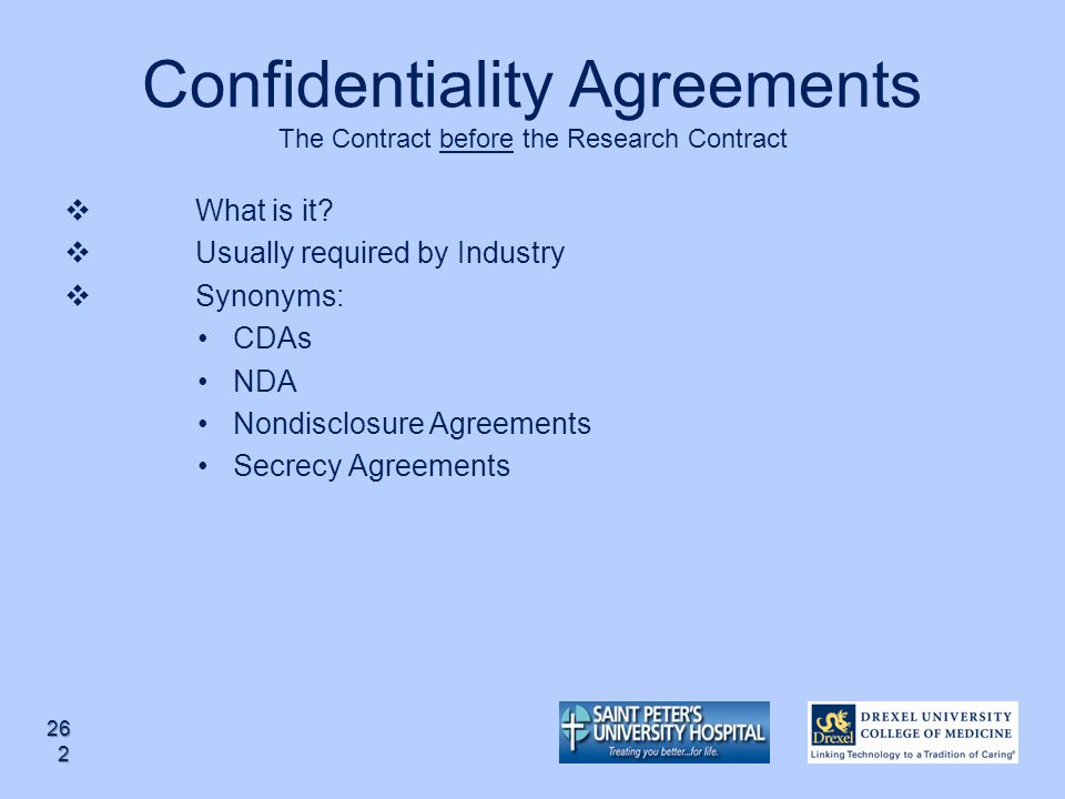 Confidentiality Agreements The Contract before the Research Contract