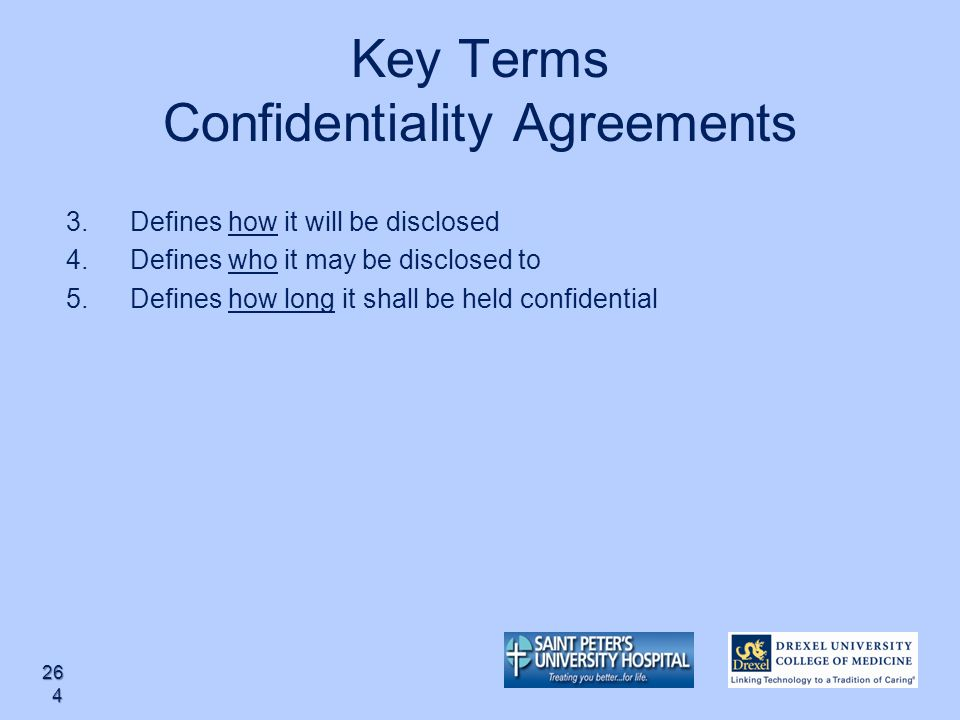 Key Terms Confidentiality Agreements