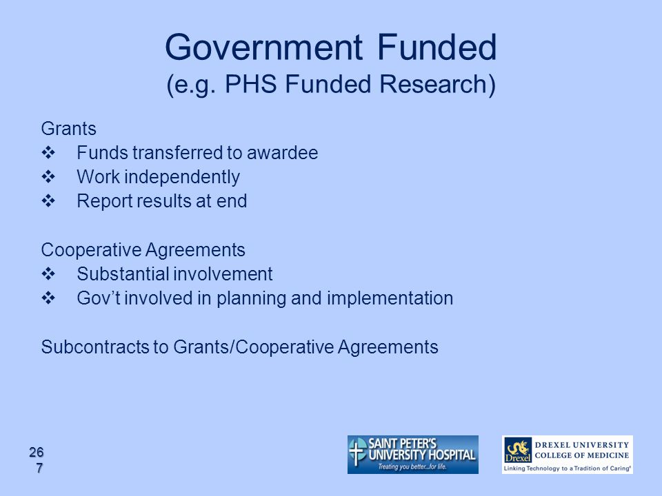 Government Funded (e.g. PHS Funded Research)