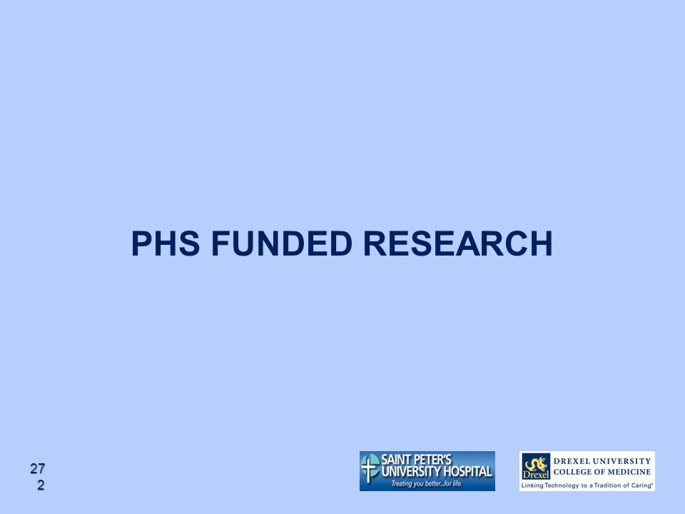 PHS FUNDED RESEARCH 272