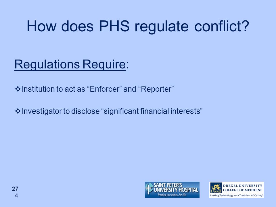 How does PHS regulate conflict
