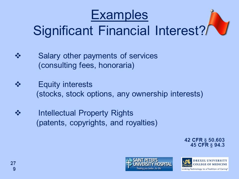 Examples Significant Financial Interest