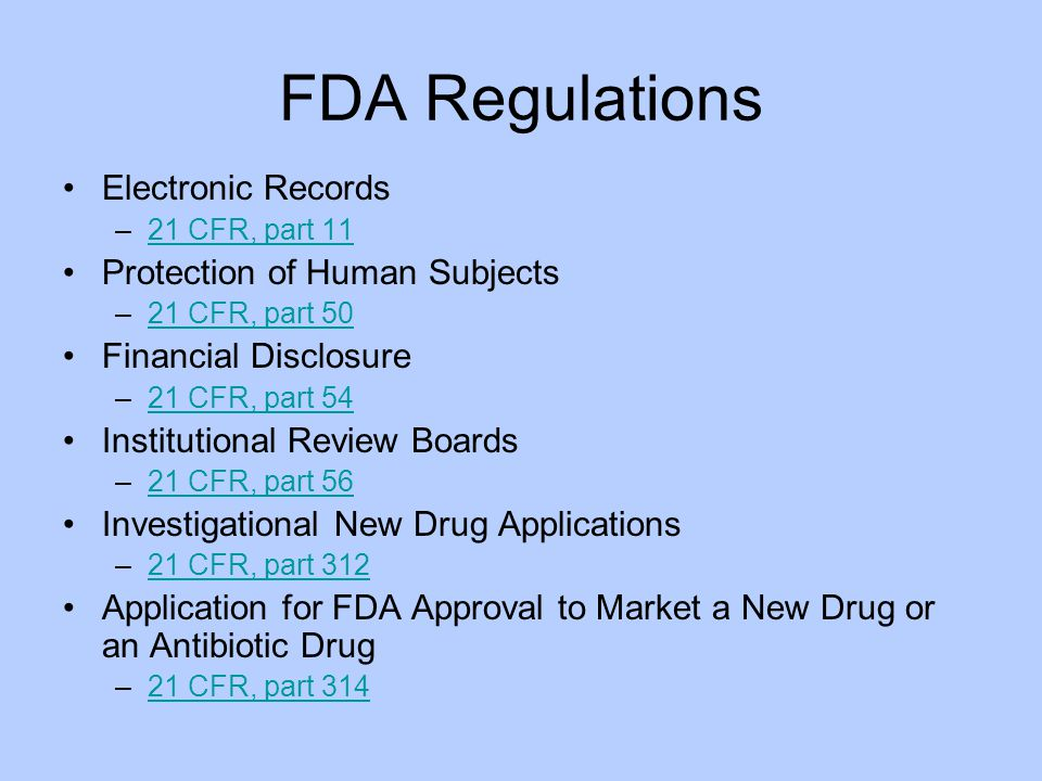 FDA Regulations Electronic Records Protection of Human Subjects