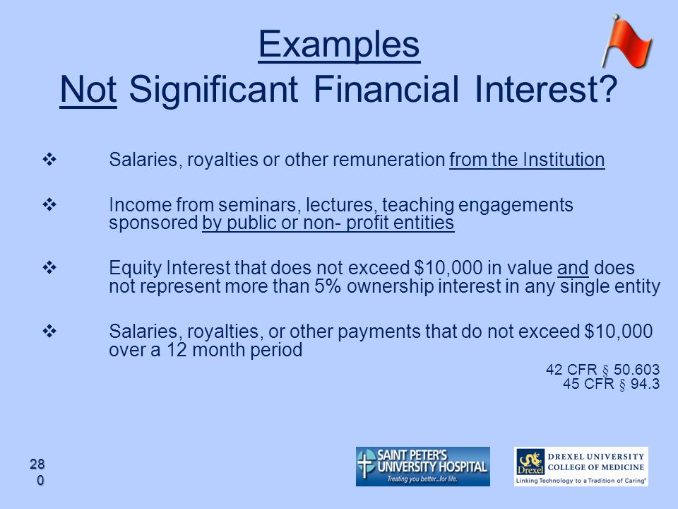 Examples Not Significant Financial Interest