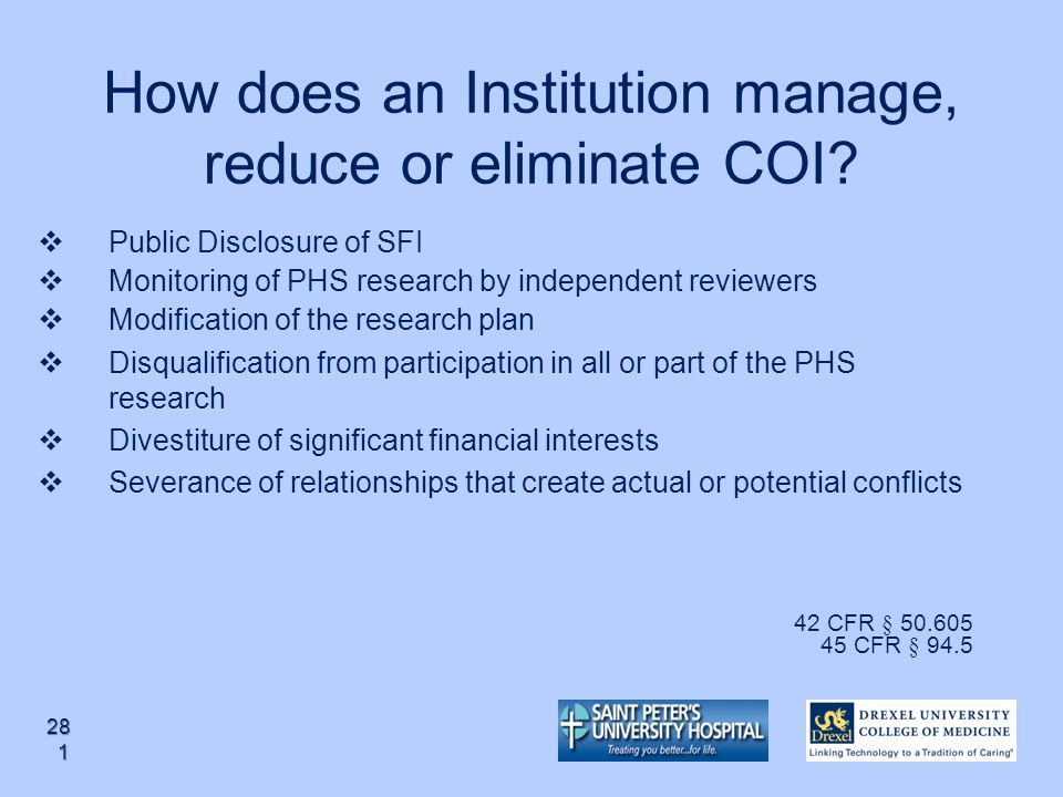 How does an Institution manage, reduce or eliminate COI
