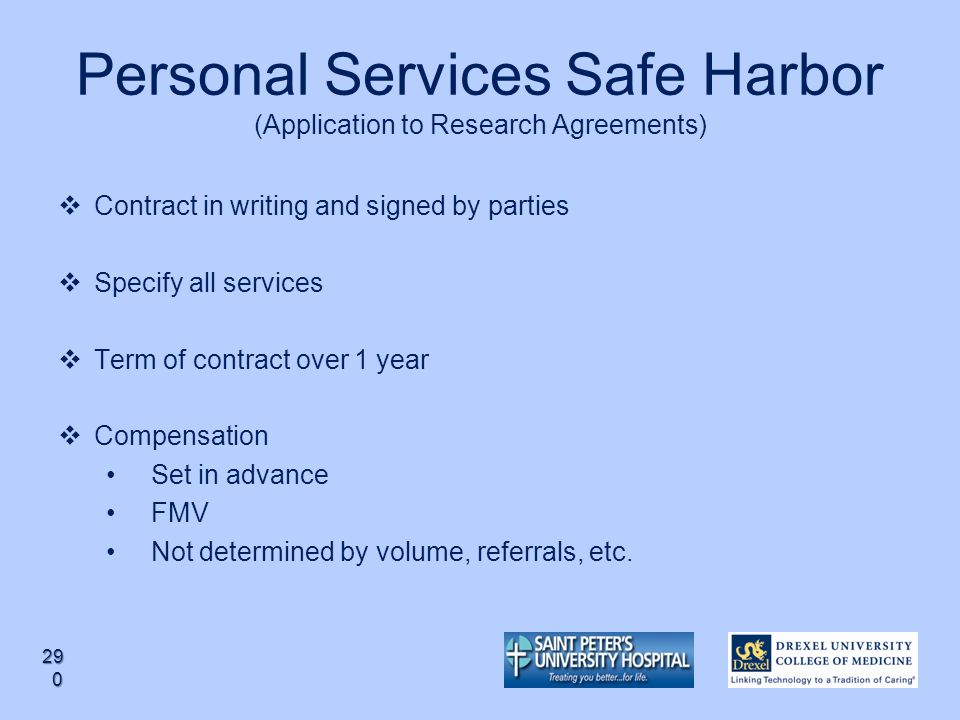 Personal Services Safe Harbor (Application to Research Agreements)