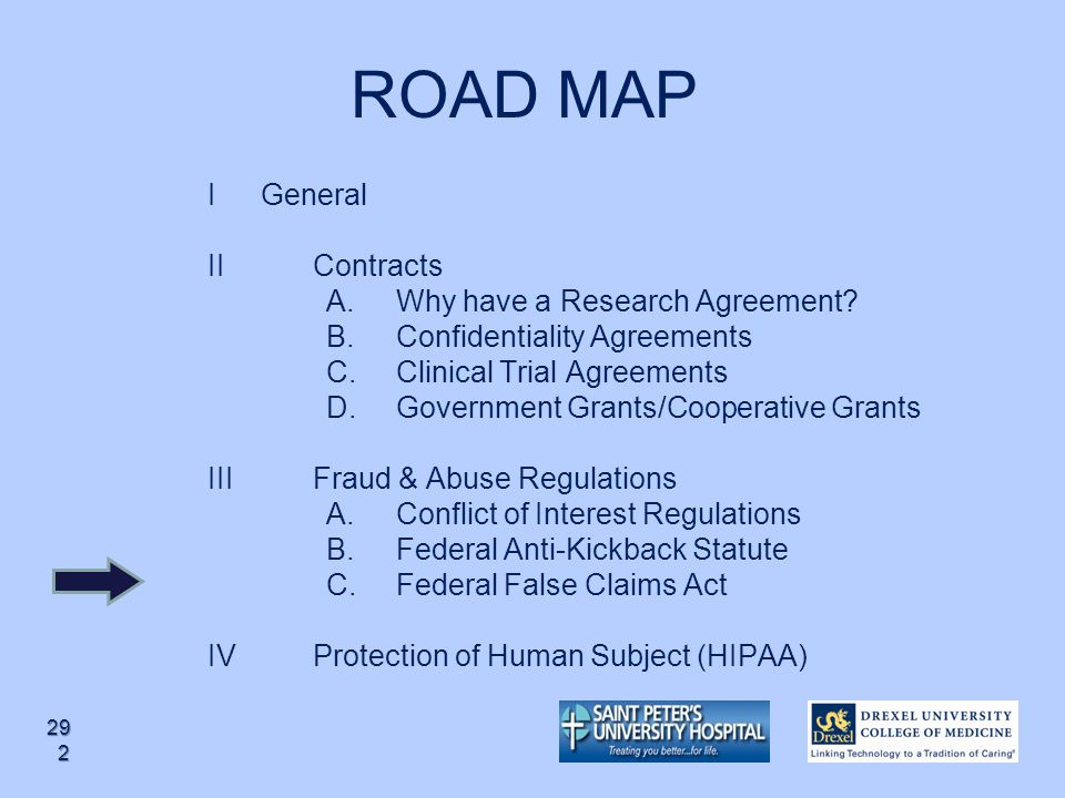 ROAD MAP I General II Contracts Why have a Research Agreement
