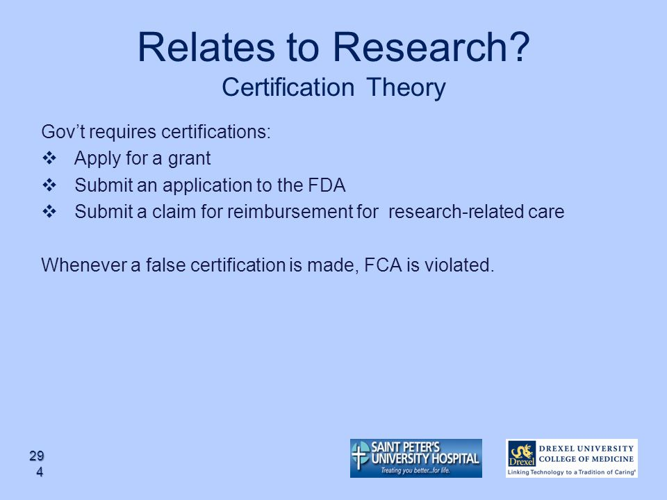 Relates to Research Certification Theory