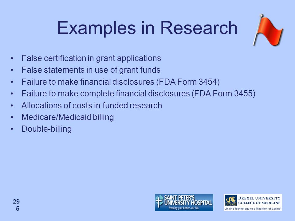 Examples in Research False certification in grant applications