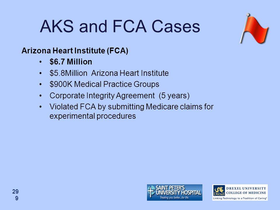 AKS and FCA Cases Arizona Heart Institute (FCA) $6.7 Million