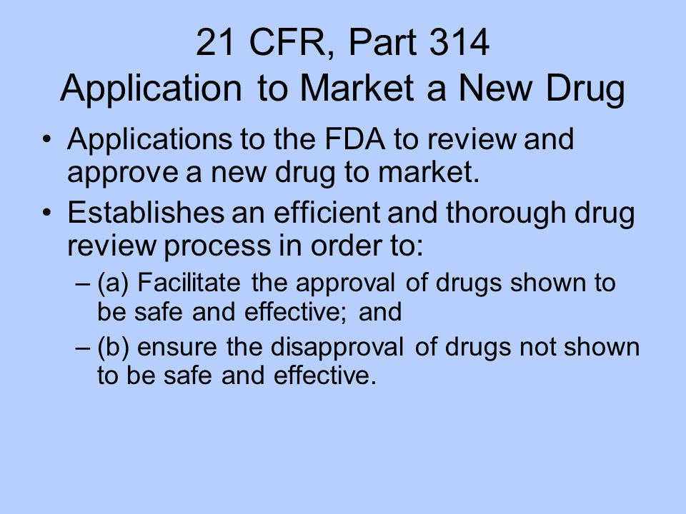 21 CFR, Part 314 Application to Market a New Drug