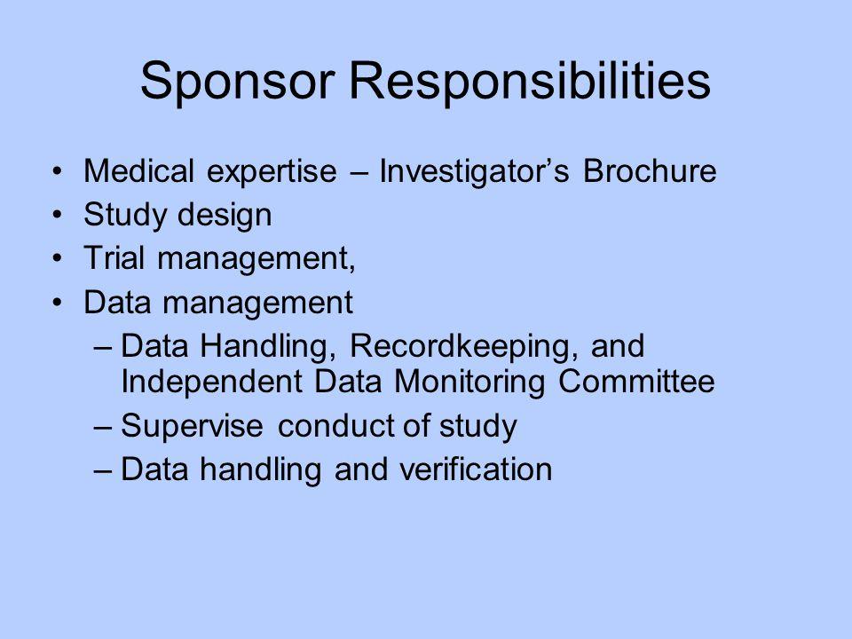 Sponsor Responsibilities