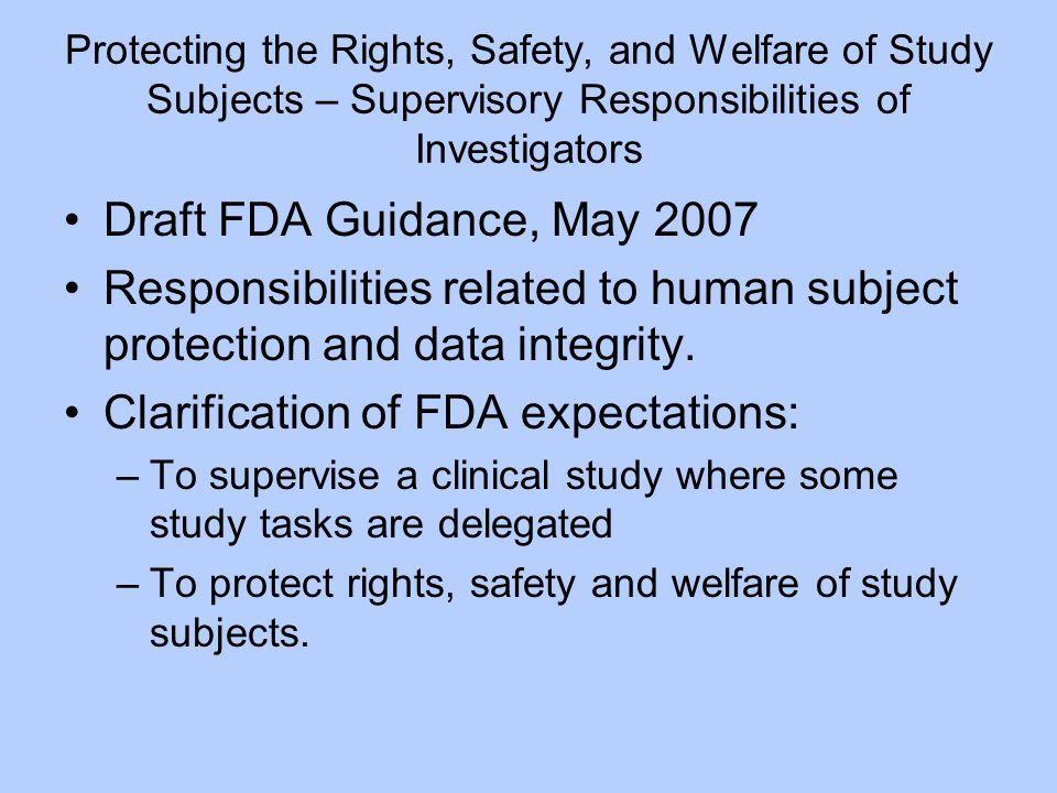 Clarification of FDA expectations: