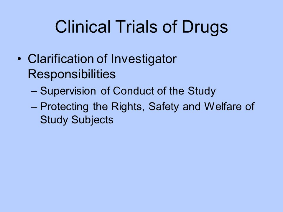 Clinical Trials of Drugs