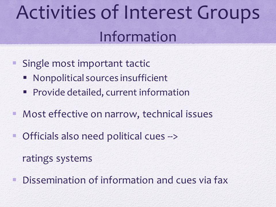 Activities of Interest Groups Information
