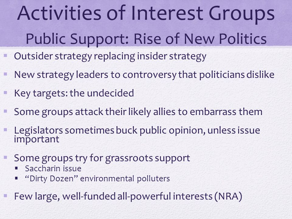 Activities of Interest Groups Public Support: Rise of New Politics