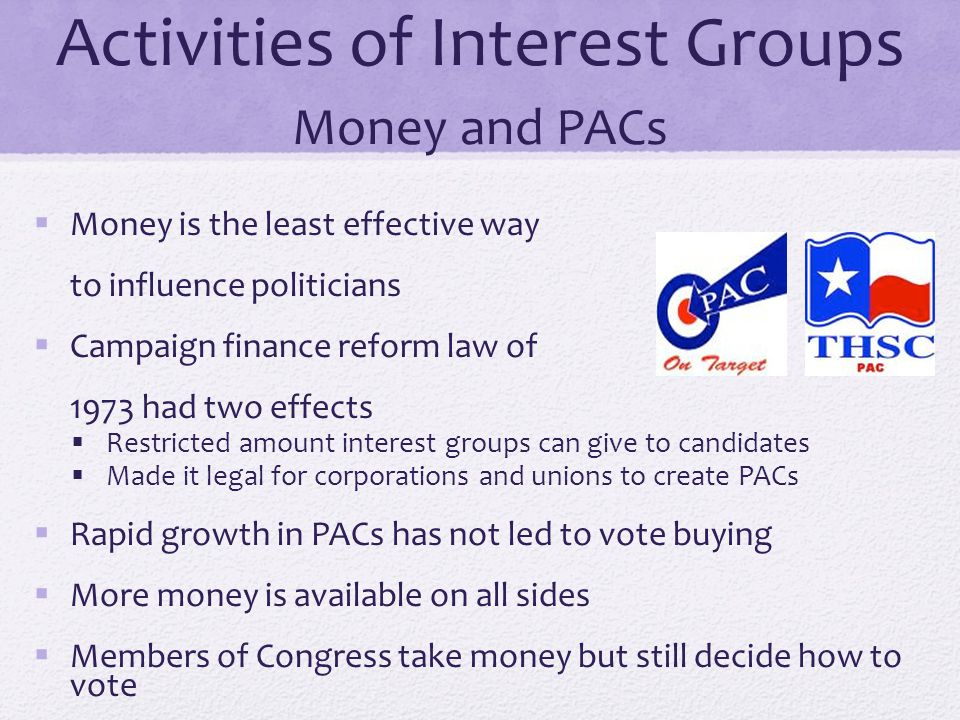 Activities of Interest Groups Money and PACs