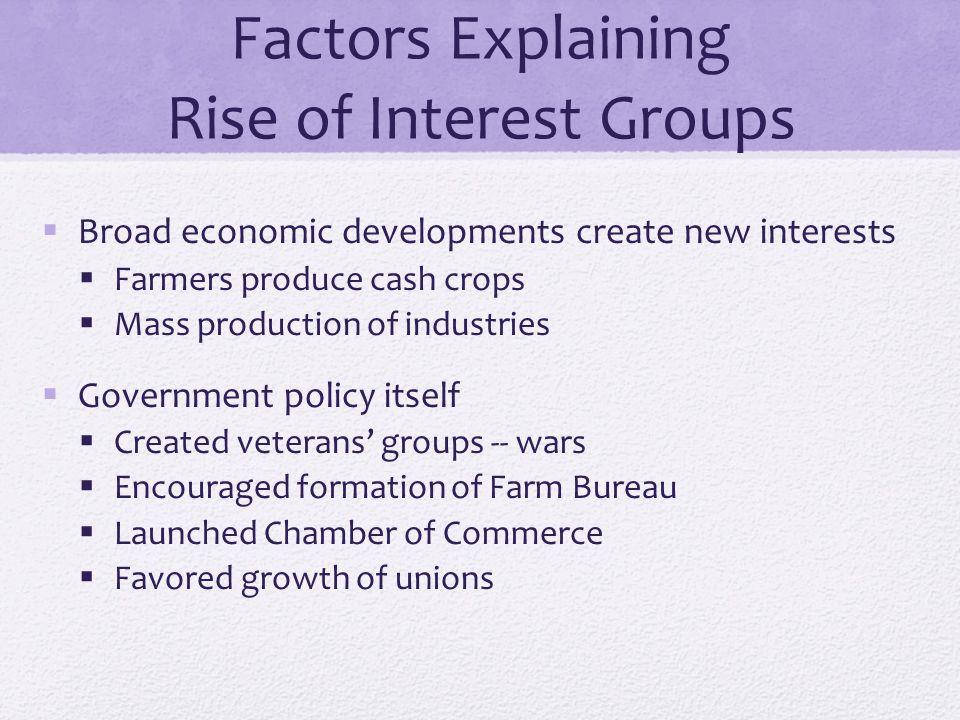 Factors Explaining Rise of Interest Groups