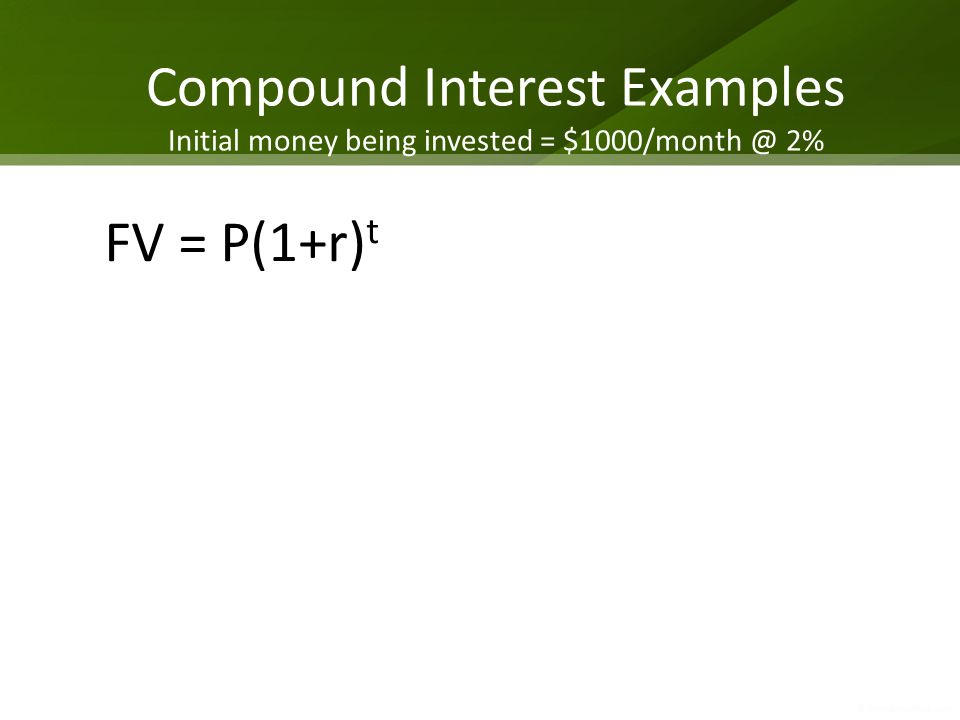 Compound Interest Examples Initial money being invested = $1000/month @ 2%