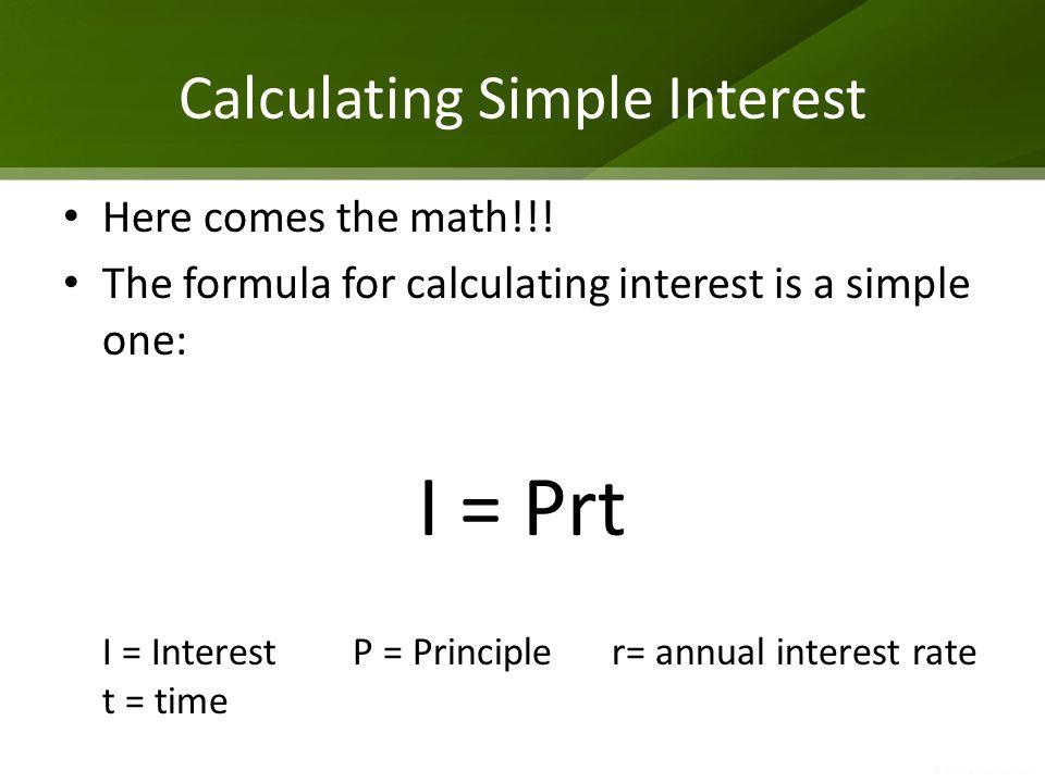 Calculating Simple Interest