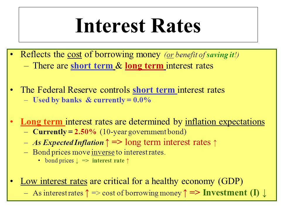 Interest Rates Reflects the cost of borrowing money (or benefit of saving it!) There are short term & long term interest rates.