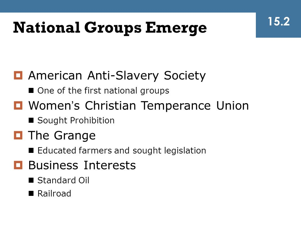 National Groups Emerge
