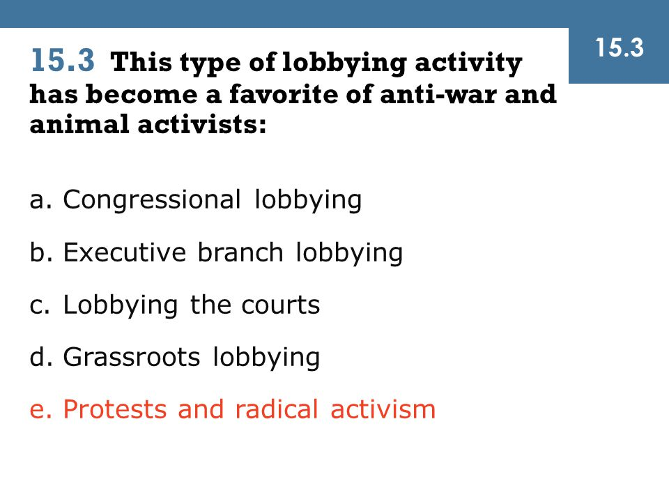 15.3 15.3 This type of lobbying activity has become a favorite of anti-war and animal activists: Congressional lobbying.